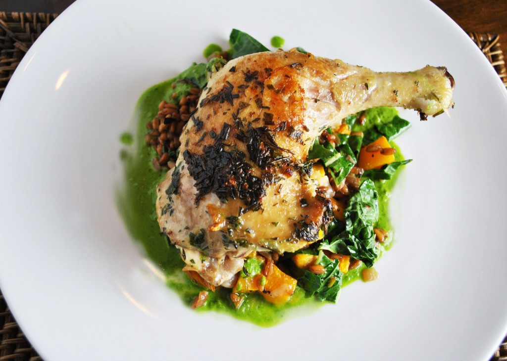 Roasted chicken with Farro and herb sauce