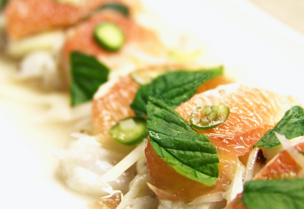 Halibut ceviche with grapefruit & jalapeno