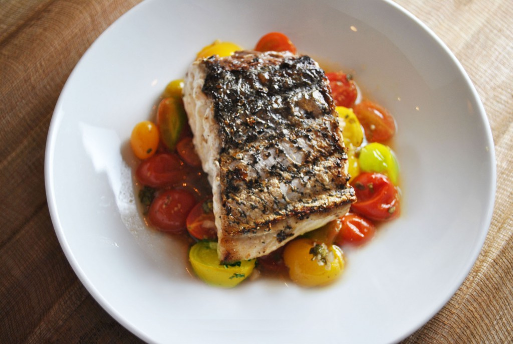 Grilled sea bass with indian spiced tomatoes