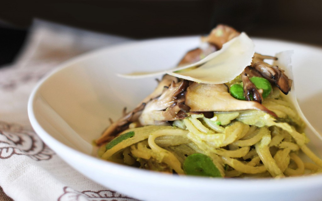 Spaghetti with fava bean pesto & maitake mushrooms