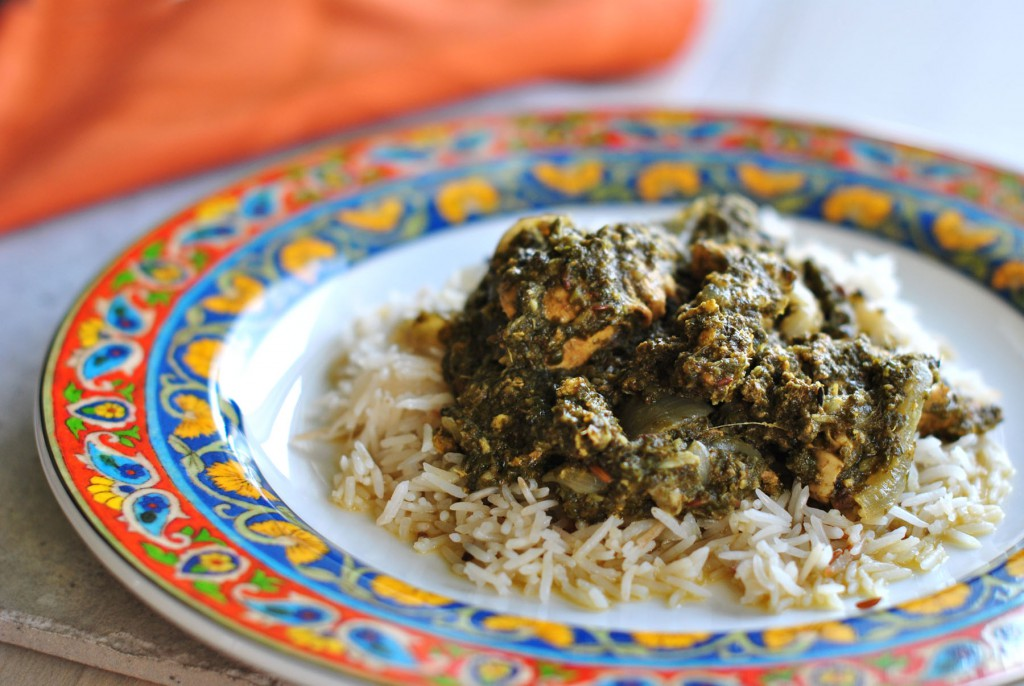 Aparna's indian spicy green curry with Onion chutney