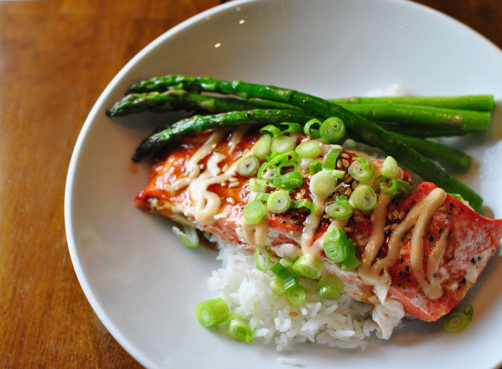 Salmon Teriyaki with Sriracha Mayo sauce