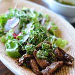No Marinade Steak Salad with Teriyaki Cilantro Dressing